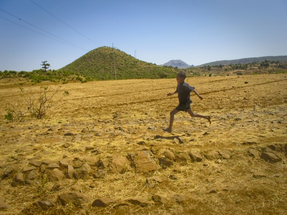 Boy running in Ethiopia