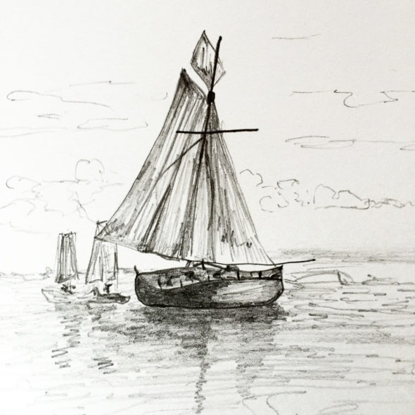 Sailboat in pencil
