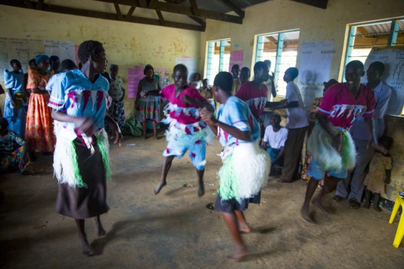 Stephen Otim leads a music, dance drama team to tell stories, educate and instill hope about fistula (Soroti, Uganda)
